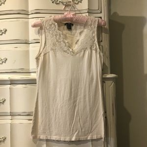 White Stretchy Tank with Lace shoulder accents